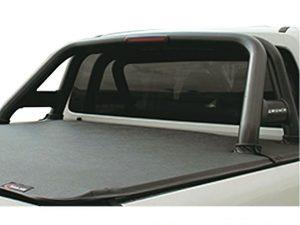 VW Amarok 2011 - 2017+ Black Coated Stainless Steel Sportsbar with Shorter Oval Side Tubes & LED Brake Light
