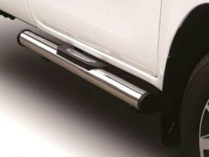 Toyota Hilux 2016 - 2020+ Single Cab Single Oval Tube Side Steps Polished Stainless Steel